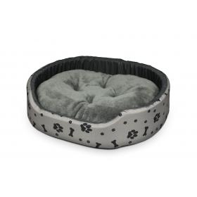 Hundebett Katzenbett Premium Hellgrau Knochen Pfoten