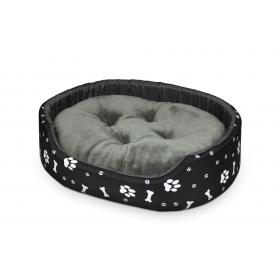 Hundebett Katzenbett Premium Schwarz mit Weißem Muster