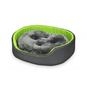 Hundebett Katzenbett CLASSIC Grau mit Grün