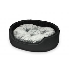 Hundebett Katzenbett CLASSIC Schwarz Graue Kissen