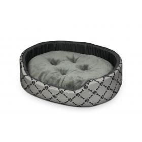 Hundebett Katzenbett Premium Hellgrau mit Schwarz