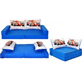 Kindermatratze blau Set + 2 Kissen viele Muster